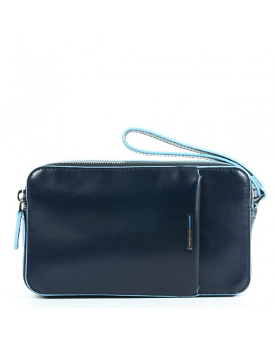 Clutch vintage leather with long shoulder strap, Gianni Chiarini Made in Italy - Black