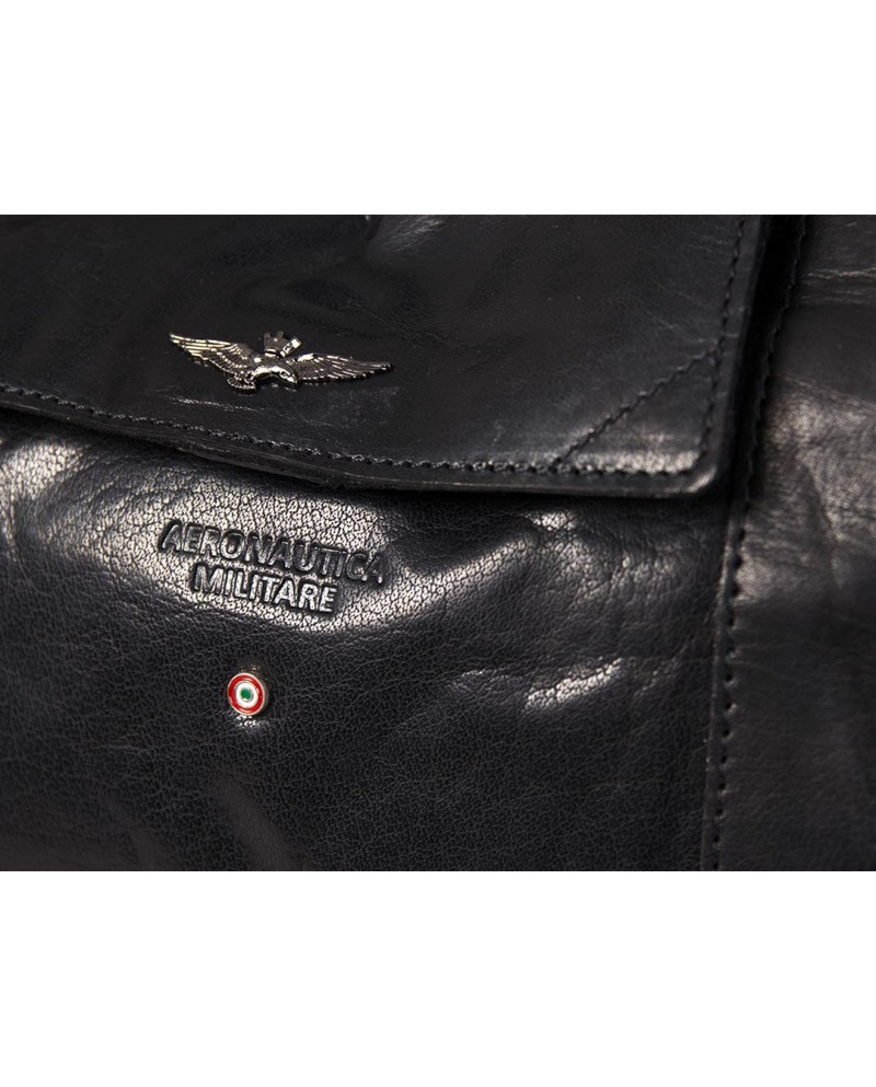 "Travel Bag cabin, vintage leather, Piquadro ""Blue Square"" - Black"