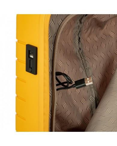 """Trolley bagaglio a mano in tessuto animalier e pelle, Bric's """"X-Travel"""" - Testa moro/Blu Avio"""