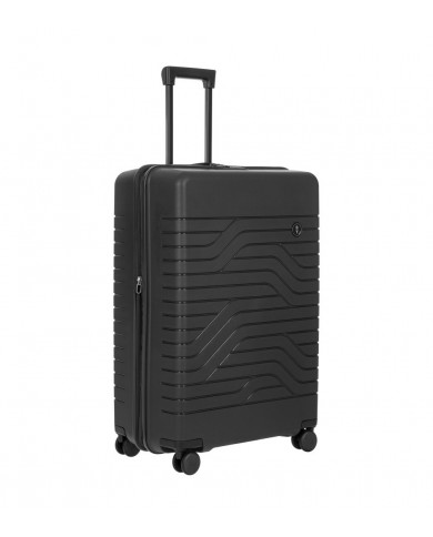 "Large trolley made of fabric and leather, 4 wheels, Bric's ""X-travel"" - Testa moro/Cuoio"