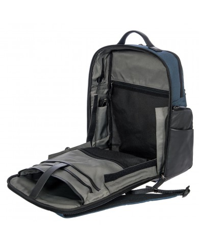 "Briefcase with two handles, made with fabric and leather,  with pockets for PC and tablets, Piquadro ""P16"" - Black/Dark Grey"