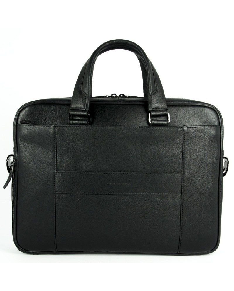 """Leather briefcase expandable, with pocket for pc  tablet, Piquadro """"Vibe"""""""