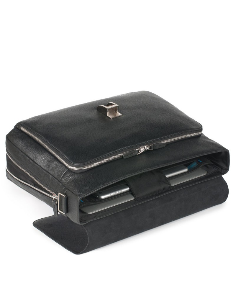 """Small leather messenger with pocket for tablet, Piquadro """"Vibe"""""""