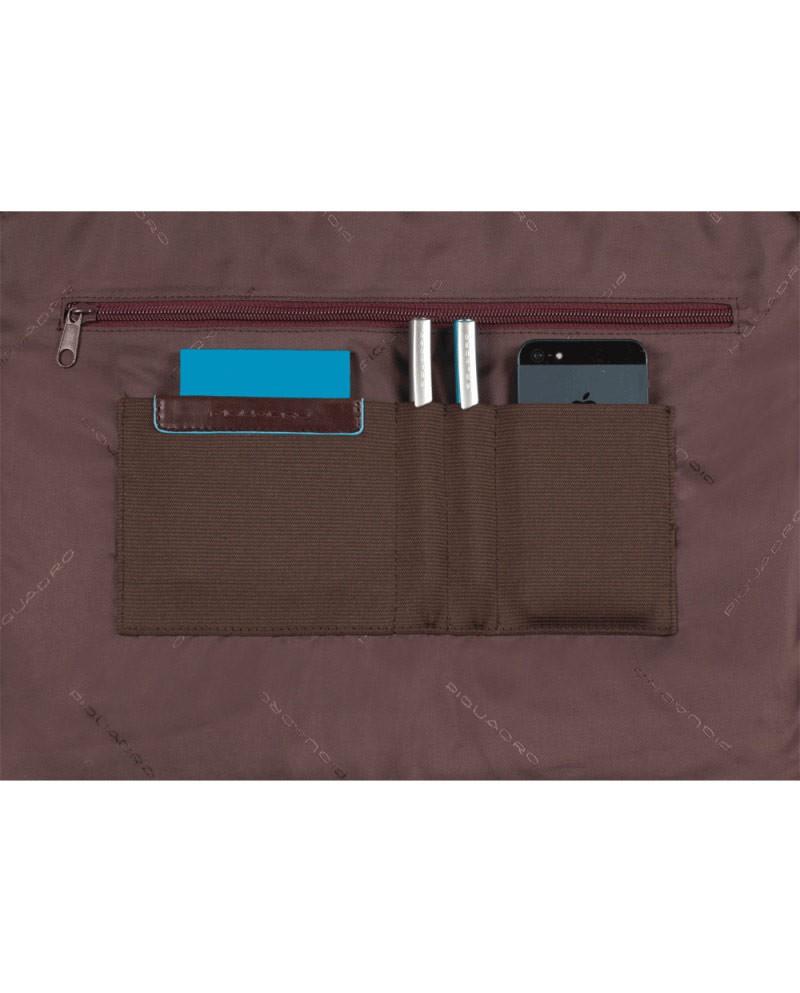 "Borsa messenger, con tasca tablet, Piquadro ""Blue square"", made in Italy"
