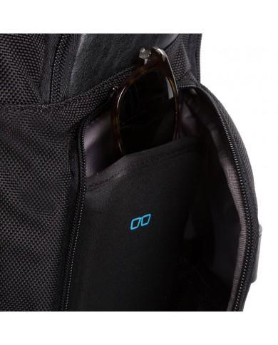 """Trolley bagaglio a mano, in tessuto e pelle con porta pc e tablet, Piquadro """"P16S - Blu Avio"""