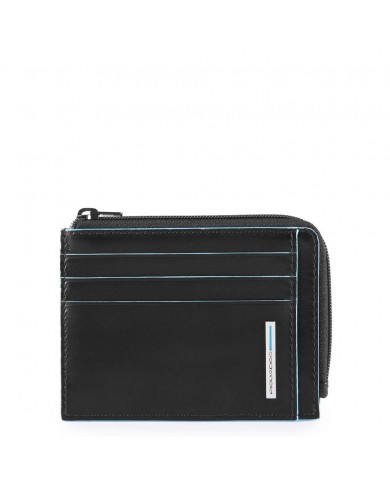 "Messenger bag with pocket for notebook 14"" and tablet, Piquadro ""Blue square"" - Nero"