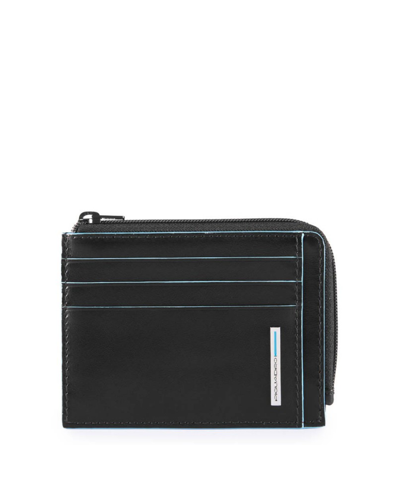 """Messenger bag with pocket for notebook 14"""" and tablet, Piquadro """"Blue square"""" - Nero"""