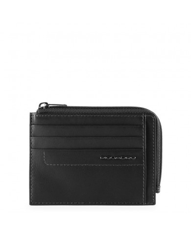 """Leather messenger bag with pockets for PC 13"""" and tablet, Piquadro """"Pulse"""" - Black"""