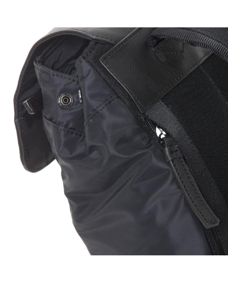 "Men's leather  belt, Piquadro ""Pulse"", made in Italy - Black/Dark Grey"