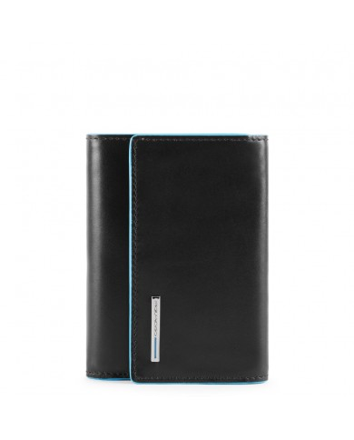 """Credit card holder in leather, Piquadro """"Blue square"""" - Rosso"""