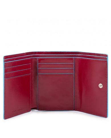 """Coin purse leather, Piquadro """"Blue square"""" - Mogano"""