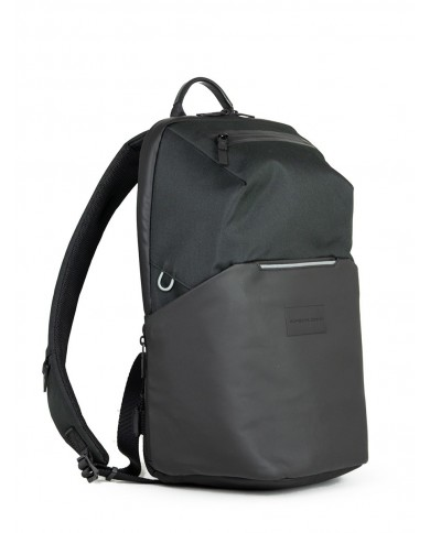"""Leather backpack with compartments for notebbok 14"""" and tablet, Piquadro """"Pulse"""" - Black"""