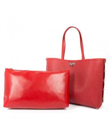 """Piquadro Briefcase with two handles, made with fabric and leather, with pockets for PC and tablets, Piquadro """"P16"""". Red"""
